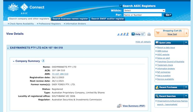 easyMarkets ASIC license