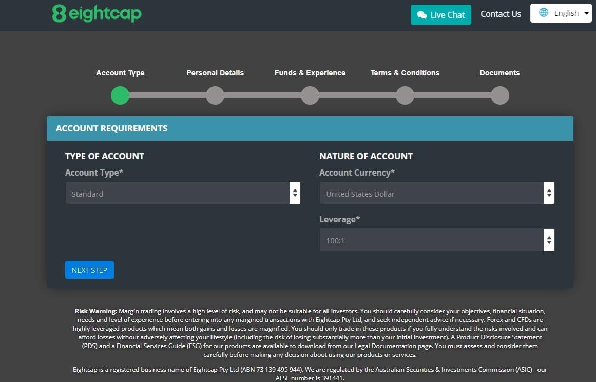eightcap online application form process