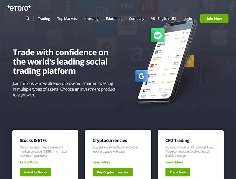 eToro Review - eToro home page