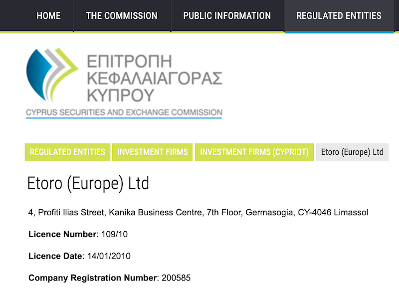 eToro (Europe) Ltd. CySec Regulation