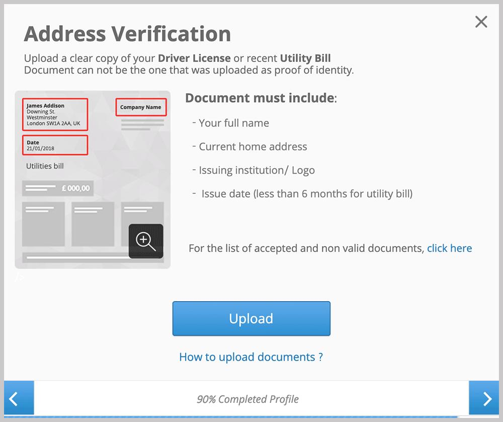 eToro Address Verification