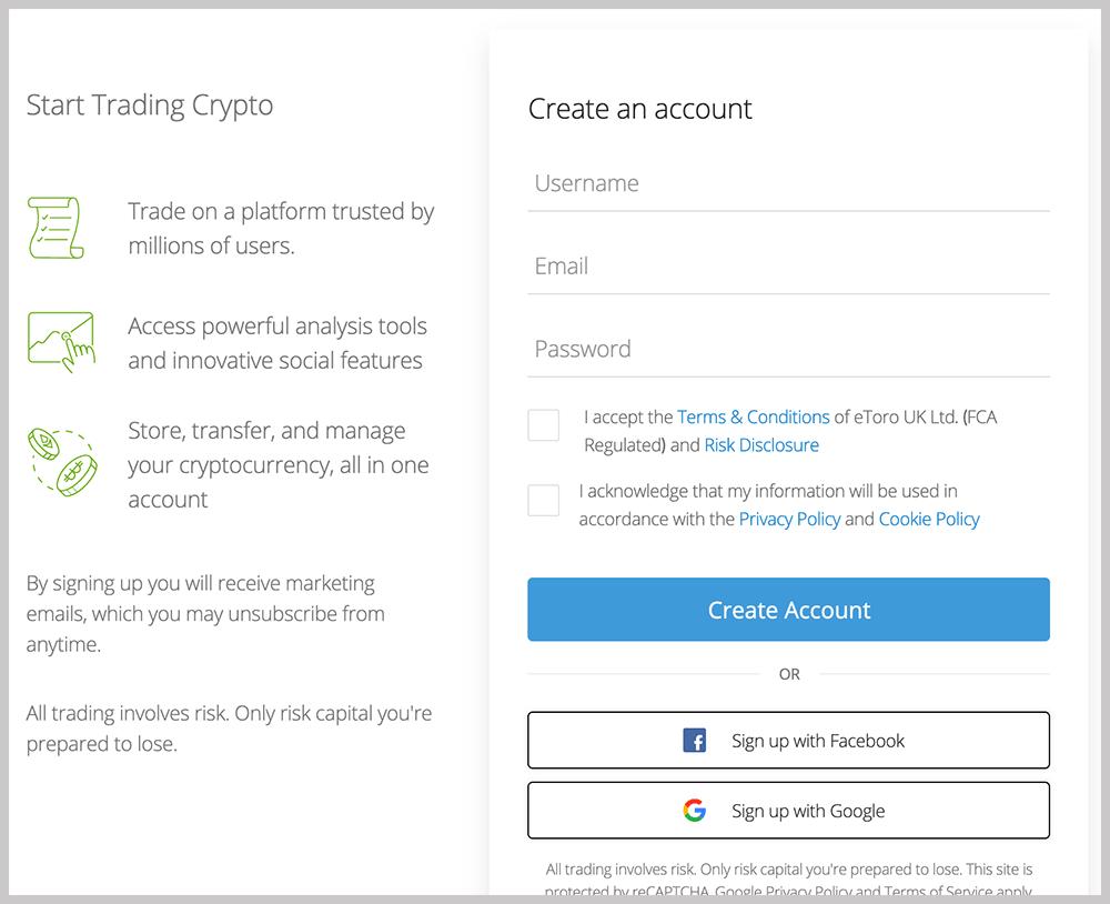 eToro Create an Account