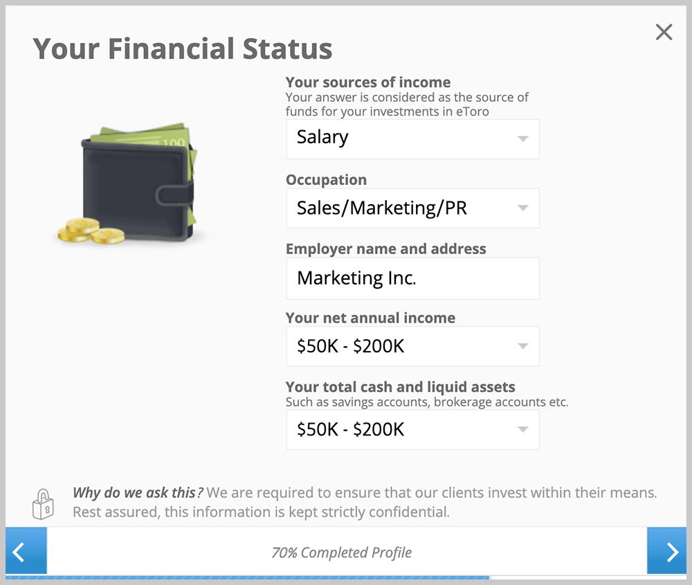 eToro Your Financial Status