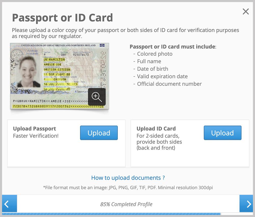 eToro Passport or ID Card