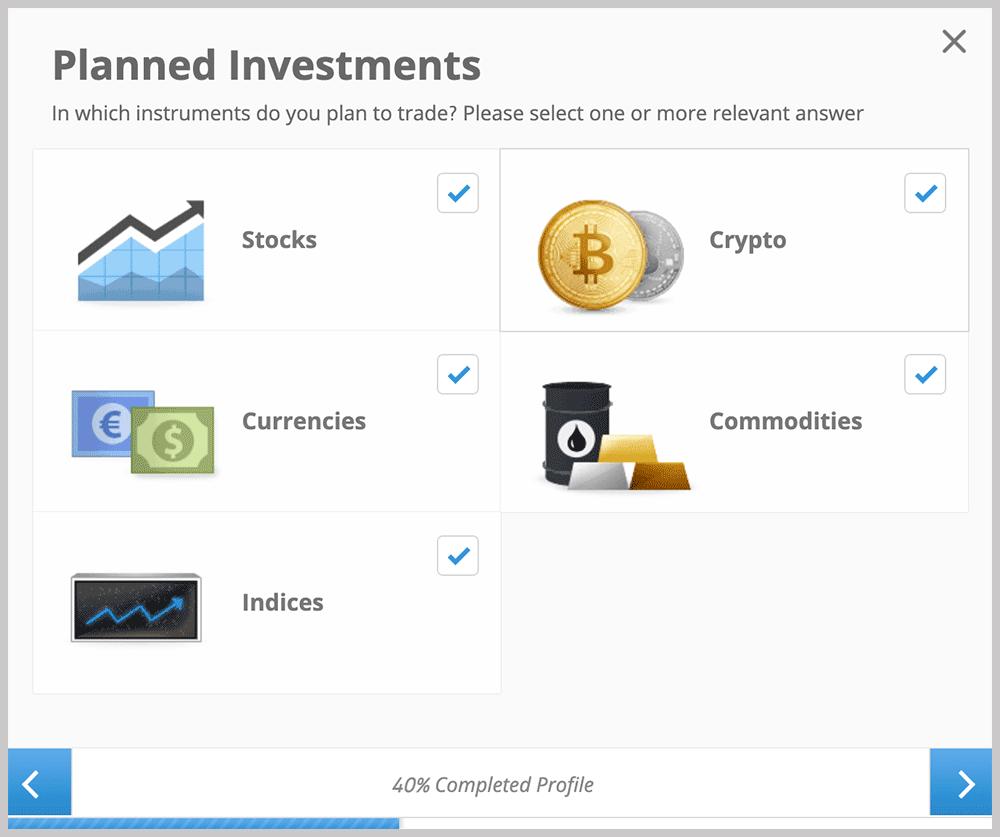 eToro Planned Investments