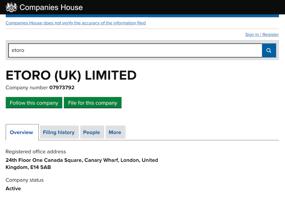 eToro (UK) limited companies house