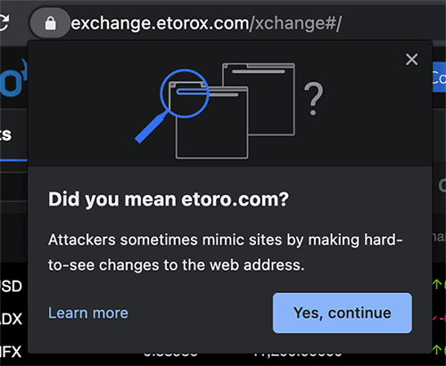 eToroX browser warning