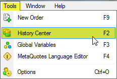 MetaTrader4 Historic data history center
