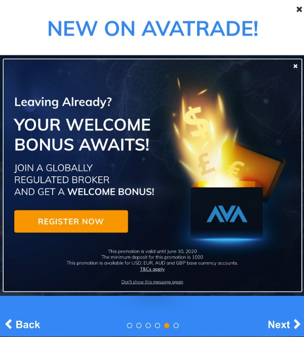 Get a Welcome Bonus with AvaTrade when signing up.